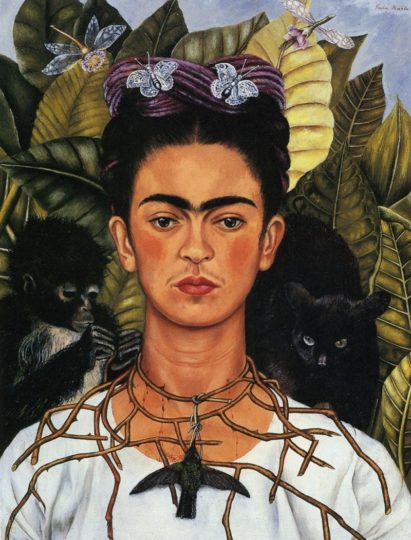 Self-Portrait with Thorn Necklace and Hummingbird by Frida Kahlo.
